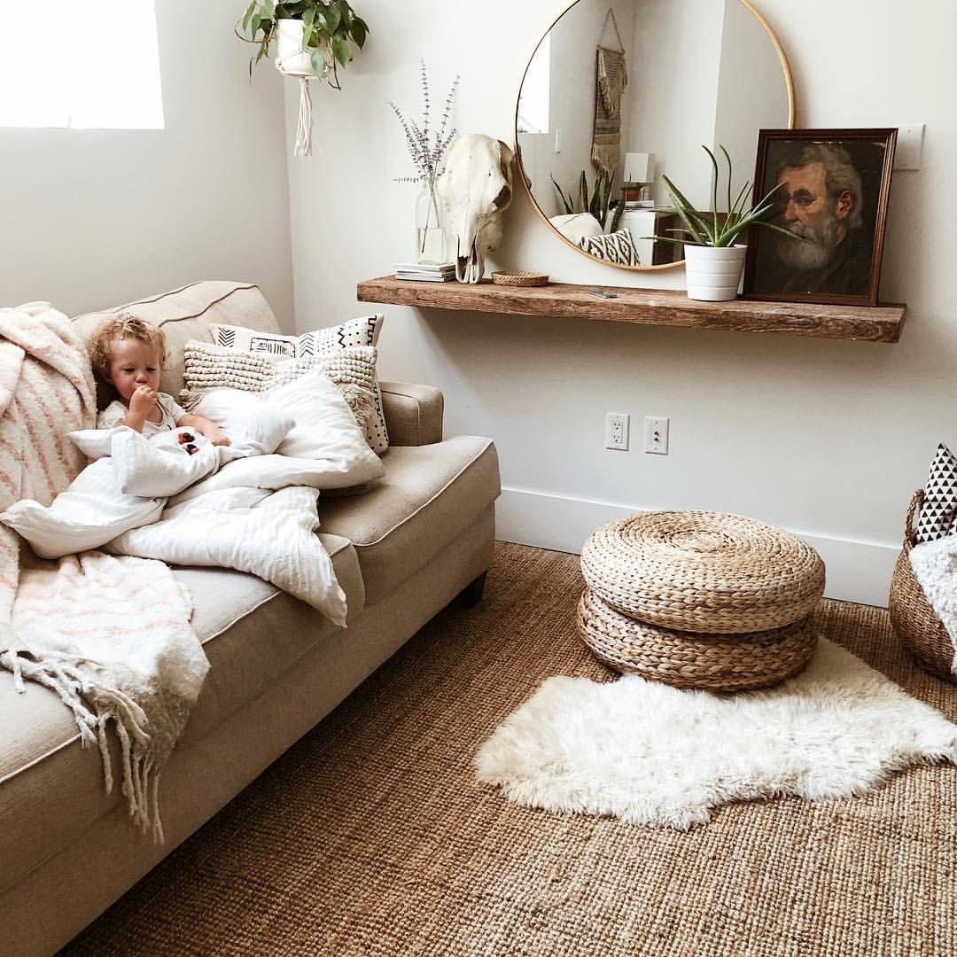 @emilyfaith22 Boho minimal neutral room decor IKEA jute ...