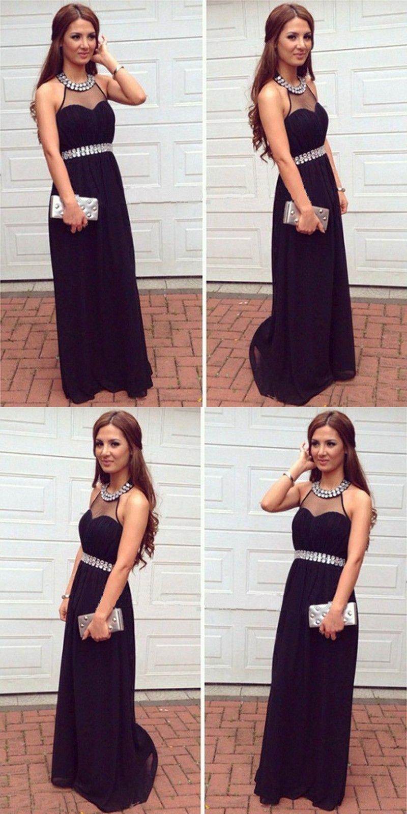 Aline halter sleeveless backless long black prom dress with beading