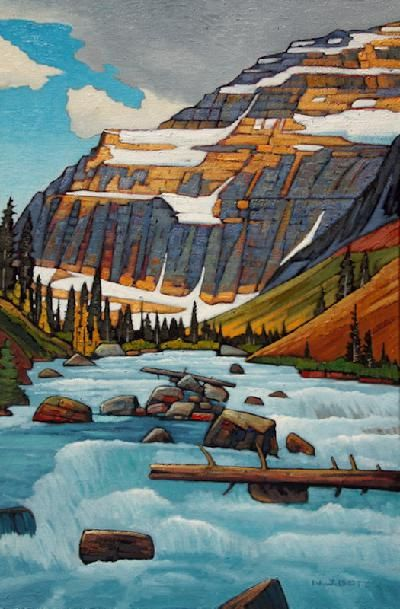 "¨Edith Cavell Glacier Run Off"" by Canadian Artist Nicholas Bott. Oil on Canvas 36"" x 24"". #CanadianArt #landscape #OilOnCanvas"