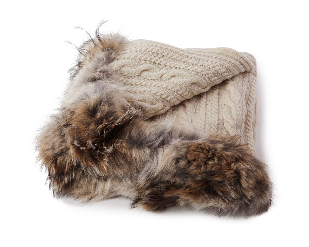 For those with expensive taste.  We want to wrap oursleves with this Knitted Throw with Fur from lexingtoncompany.com!  $895
