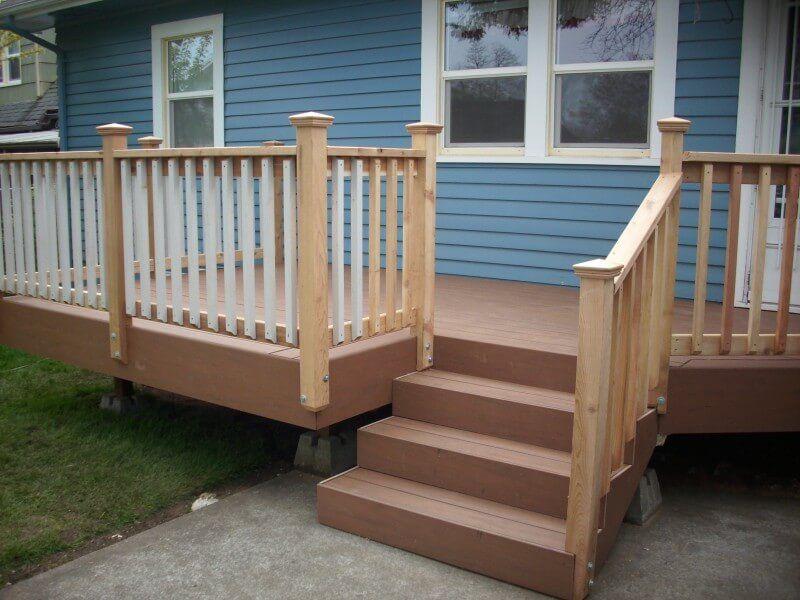 27 Creative Deck Railing Ideas For Inspire What You Want | Lowes Exterior Stair Railing | Composite Decking | Matte Black Aluminum Railing | Railing Systems | Metal | Porch