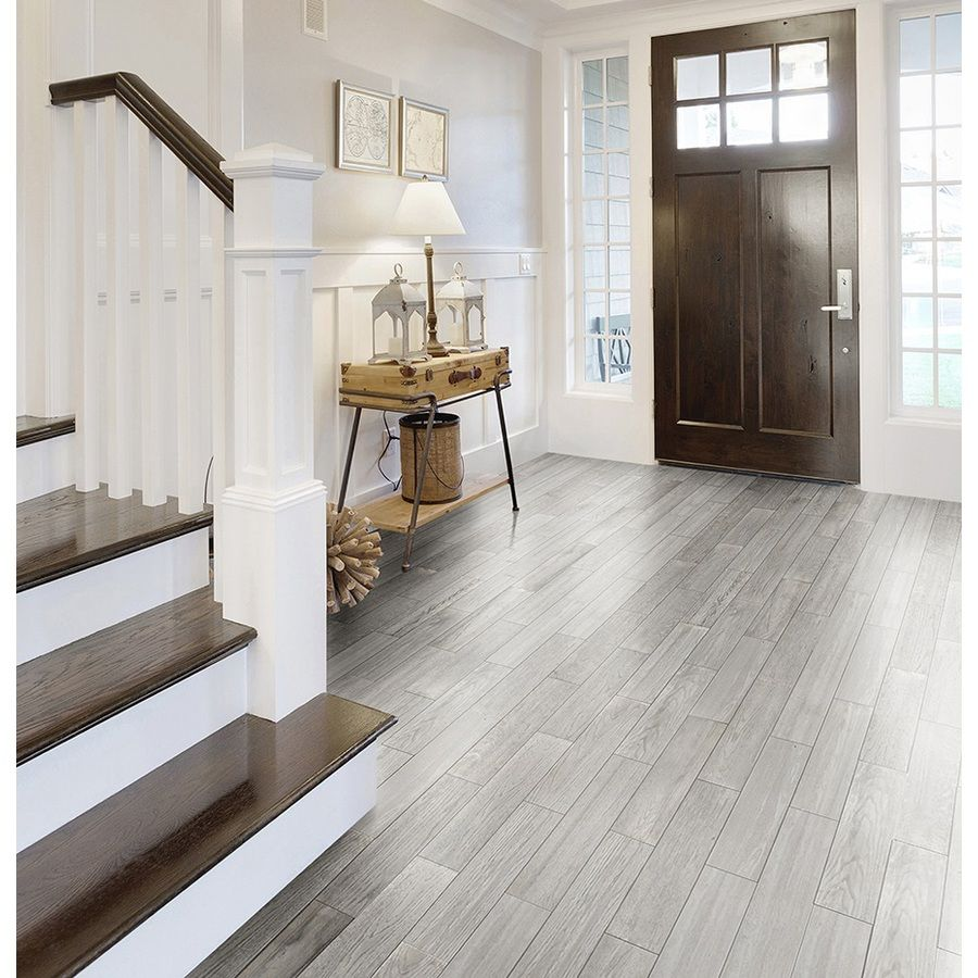 Style Selections Eldon White Wood Look Porcelain Floor Tile (Common ...