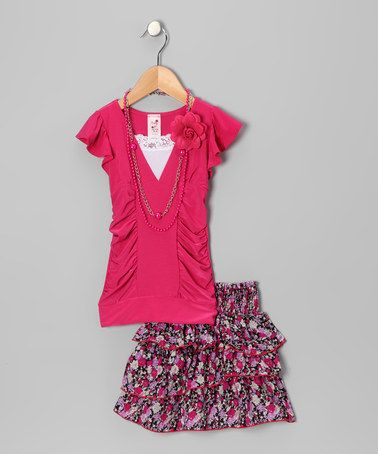 Take a look at this Hot Pink Ruched Top Set - Toddler & Girls by Candy Girl on #zulily today!