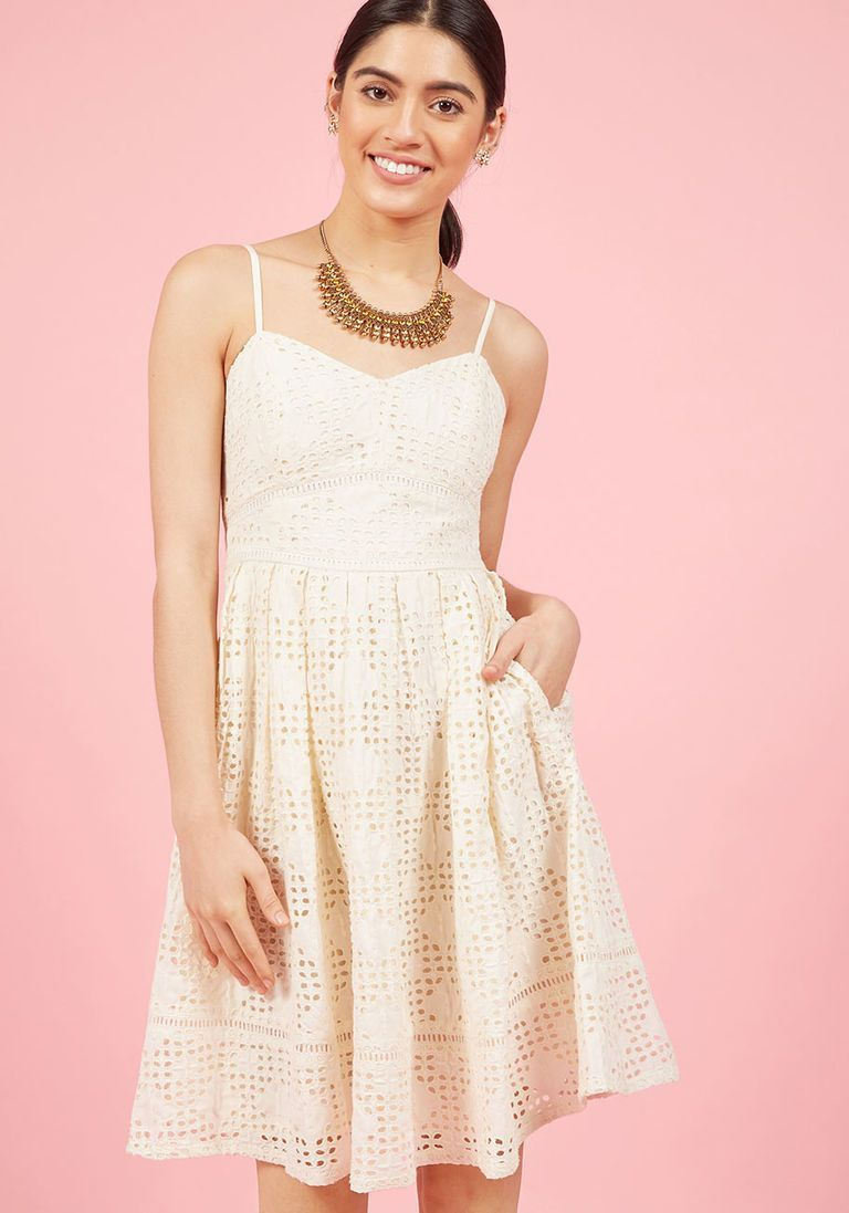 7587f568d04 Diamond Eyelet A-Line Dress in Ivory in XL - Spaghetti Knee Length by  ModCloth - Plus Sizes Available