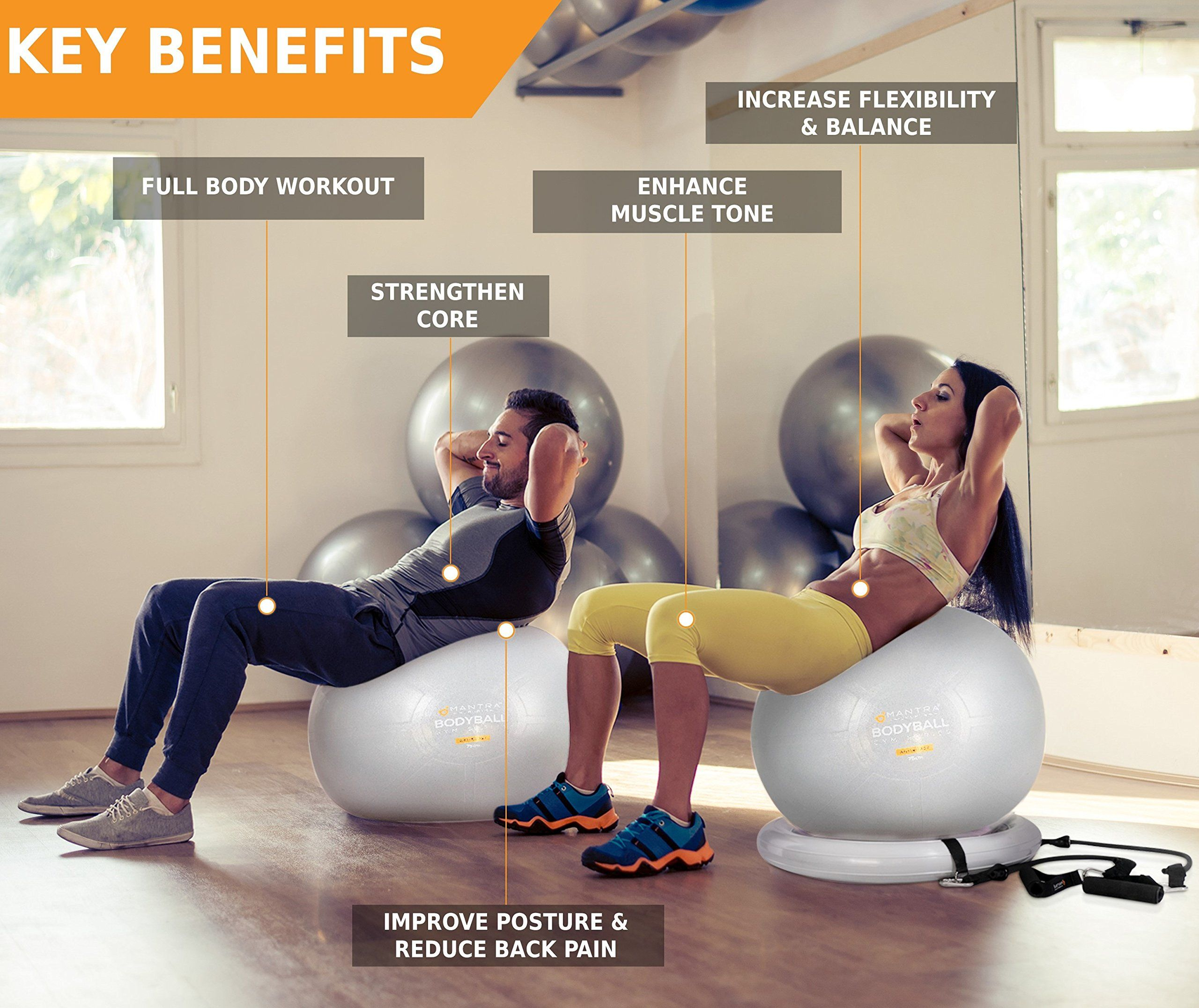 Exercise Ball Chair 65cm and 75cm Yoga Fitness Pilates Ball and Stability  Base for Home Gym 404bfd6aab6d