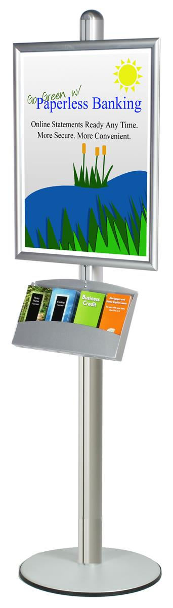 22 x 28 Poster Stand, Snap Open, 4-Pocket Brochure Tray, 6', Round ...