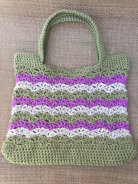 Free Pattern Chevron Shells Market Bag Patterns Valley Crochet