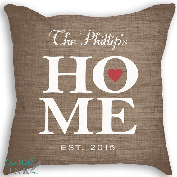 HOME  Custom Name Date Pillow  Pillow with Insert  by livewellink