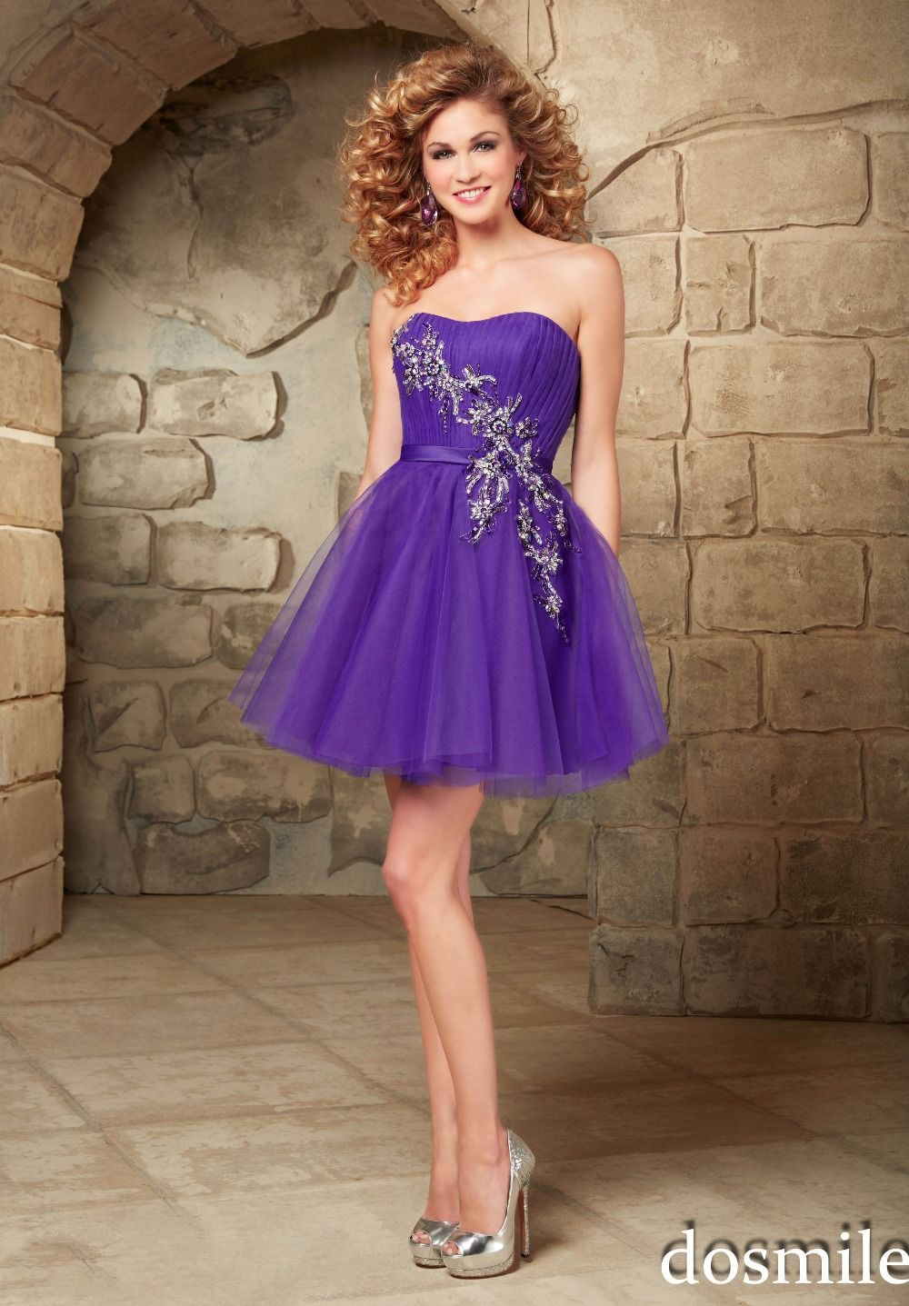 2016 mini strapless homecoming Dresses purple peach appliques ...
