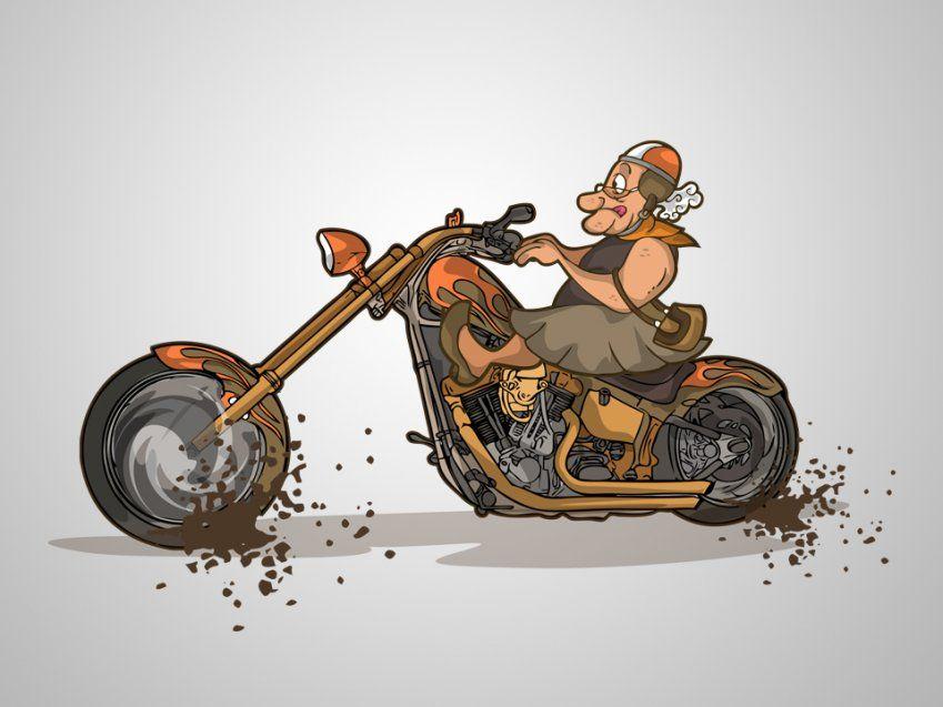 Картинки с бабками на мотоцикле