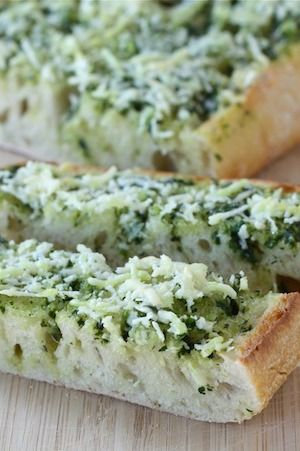 Basil Butter Garlic Bread Recipe on twopeasandtheirpod.com