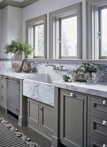 Image result for dark trim light walls | Grey kitchen ...