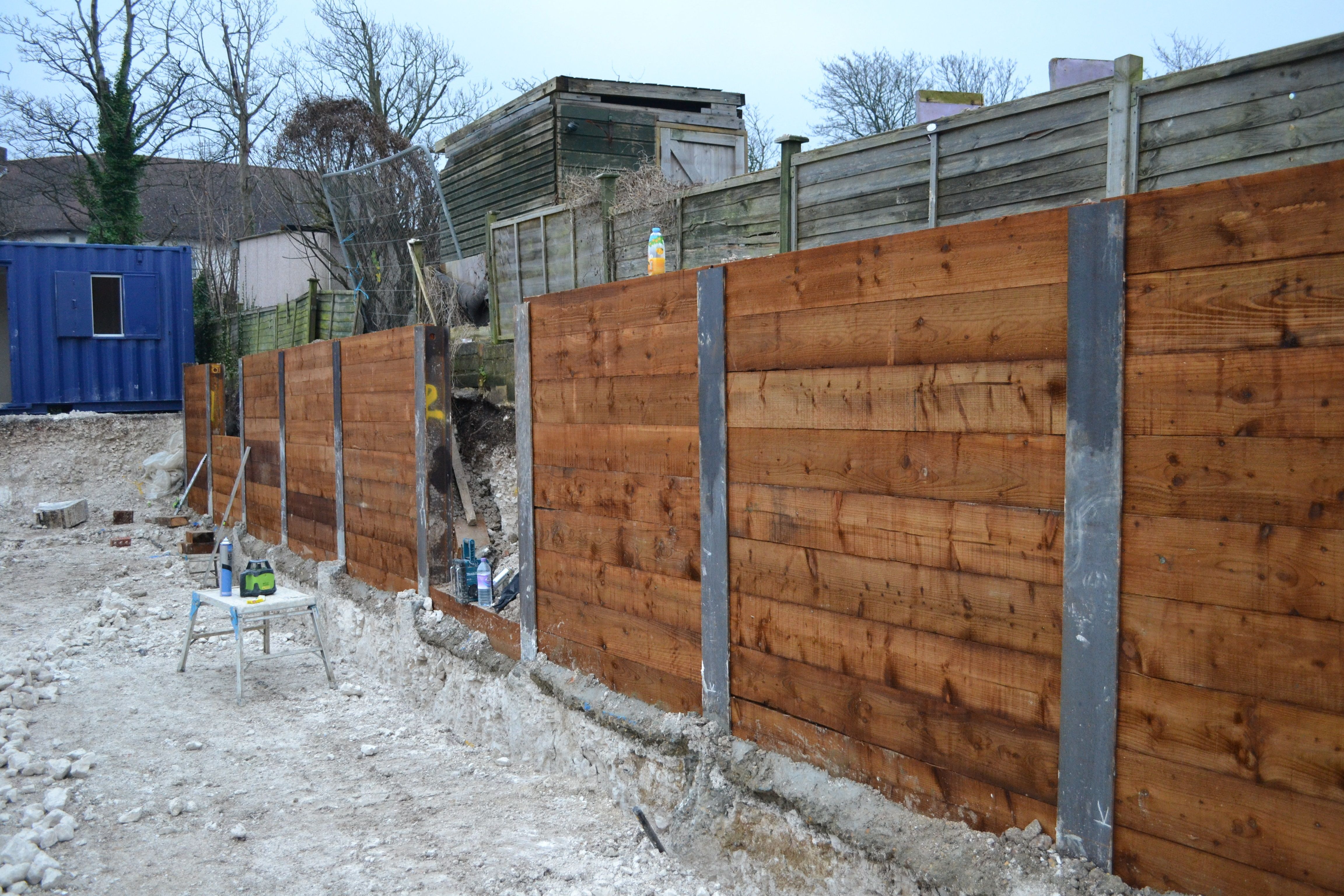 King Post Retaining Wall Near Completion House Yard Retaining Wall Old Fences