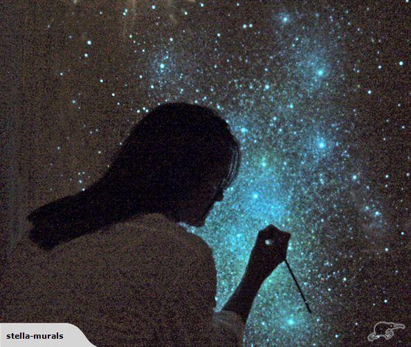 Glow Stars For Ceiling: Glow In The Dark STAR CEILING ART - Stella Murals