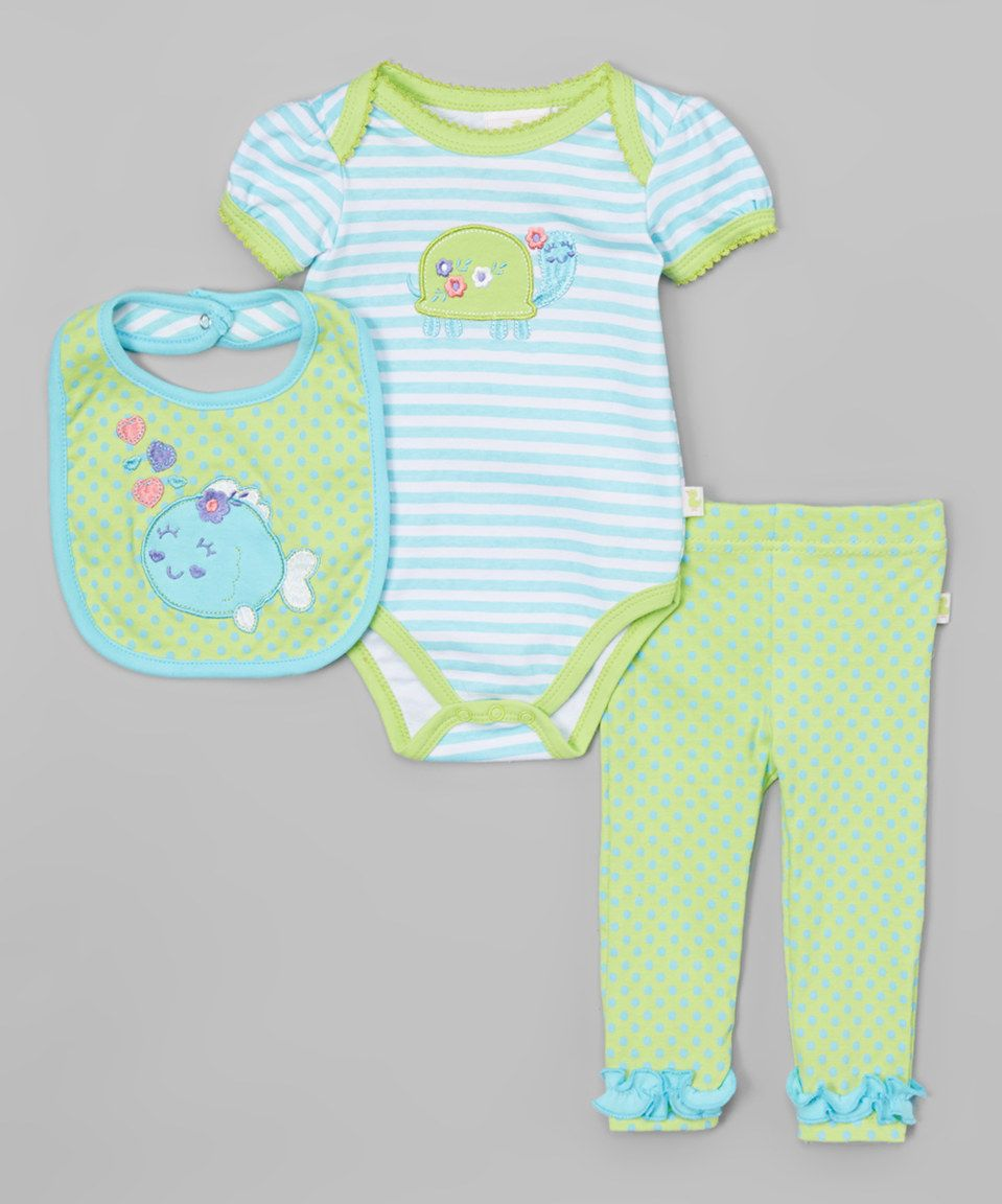 Look what I found on #zulily! Green Fish Bodysuit Set - Infant by Duck Duck Goose #zulilyfinds