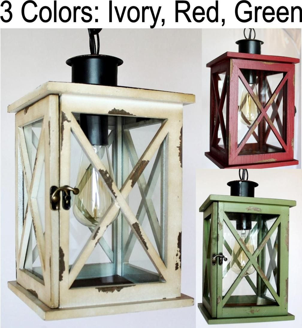 Wood Amp Glass Lantern Plug In Pendant Green Green Lamp