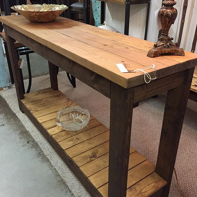 Rustic 5 Two Tone Stained Solid Wood Console Table Just Added To Booth 215 Alyssas Local Localbuilder Woodworking