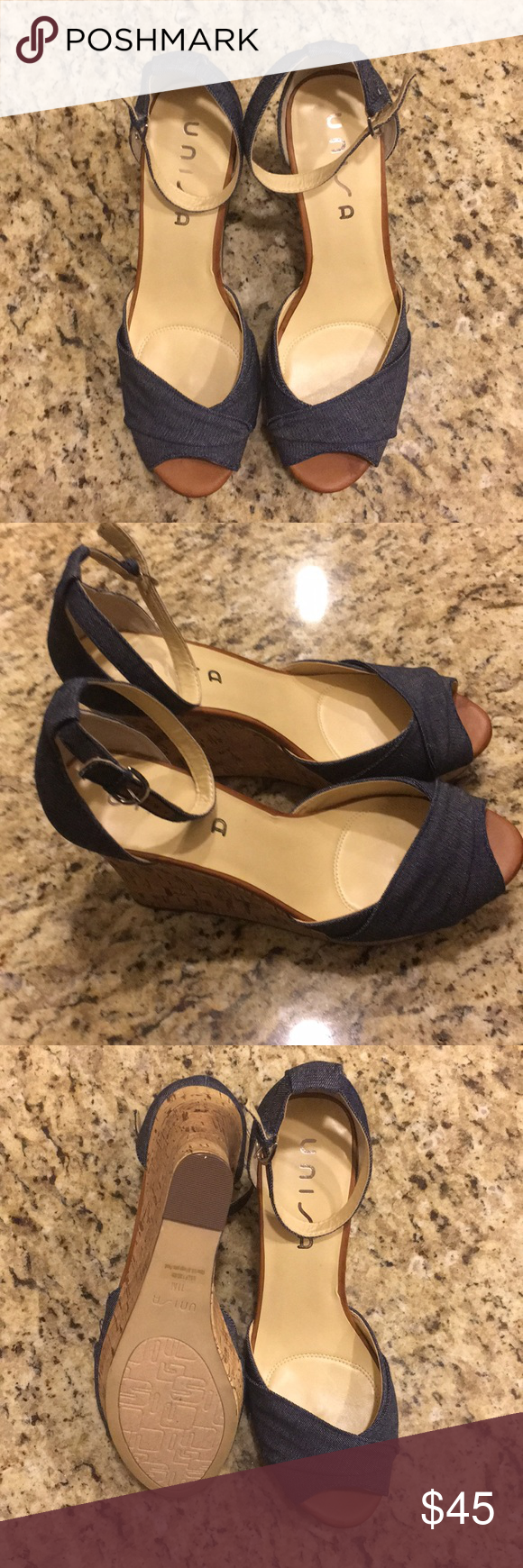 "272466df393 Unisa Blue Denim Wedge Sandals New without Tags Smoke free home Cork Wedge  (approximately 4"") with denim wrapped ankle strap heel and front Unisa Shoes  ..."