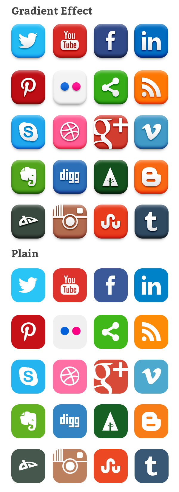 20 Popular Social Media Icons (PSD & PNG Social media