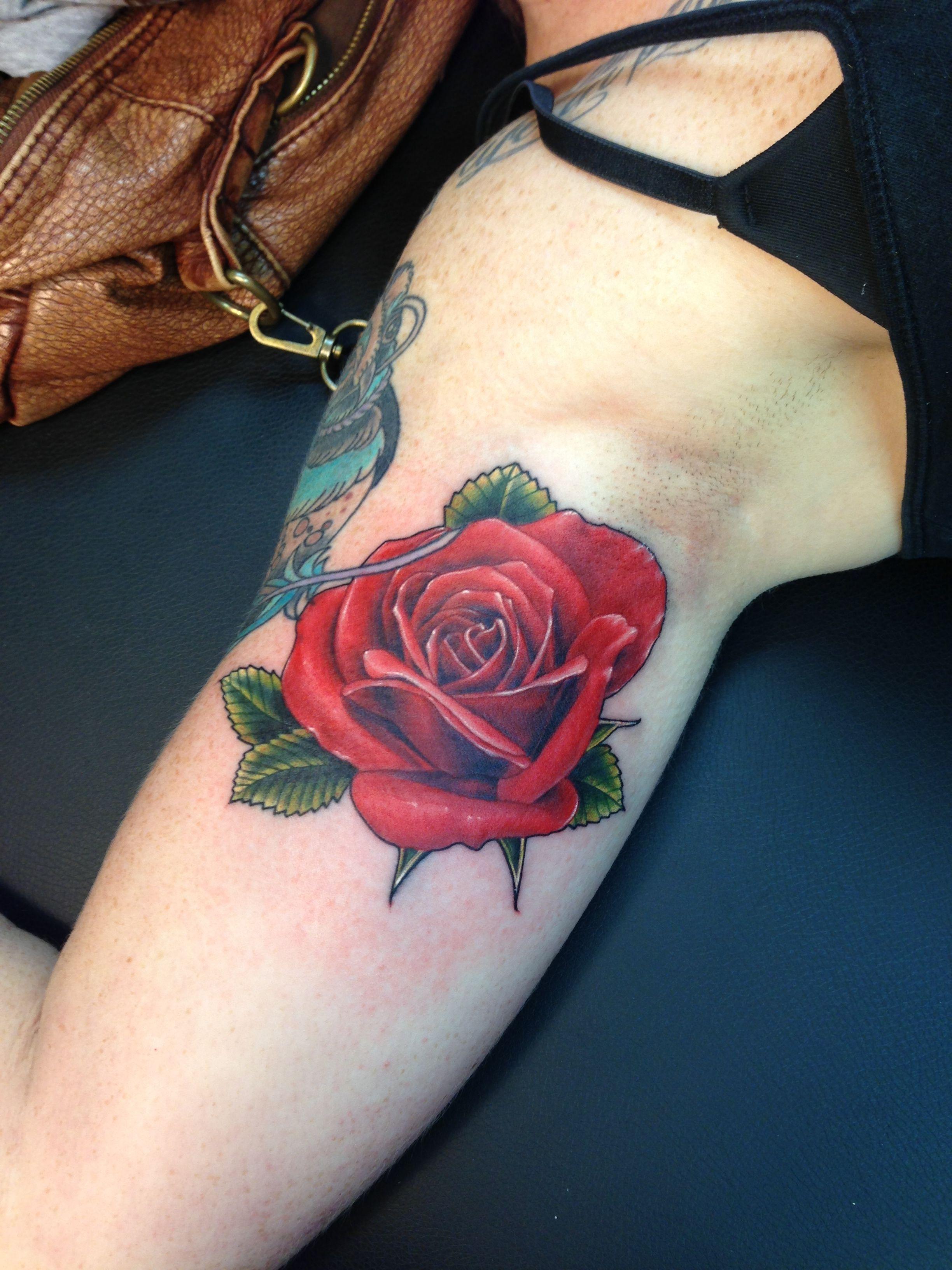 Realistic Single Rose Tattoo: Realistic Rose. Tattoo.