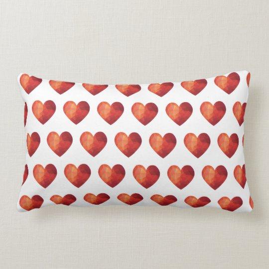 Geometric 3d Red Hearts Lumbar Pillow Zazzle Com Geometric 3d Geometric Lumbar Pillow