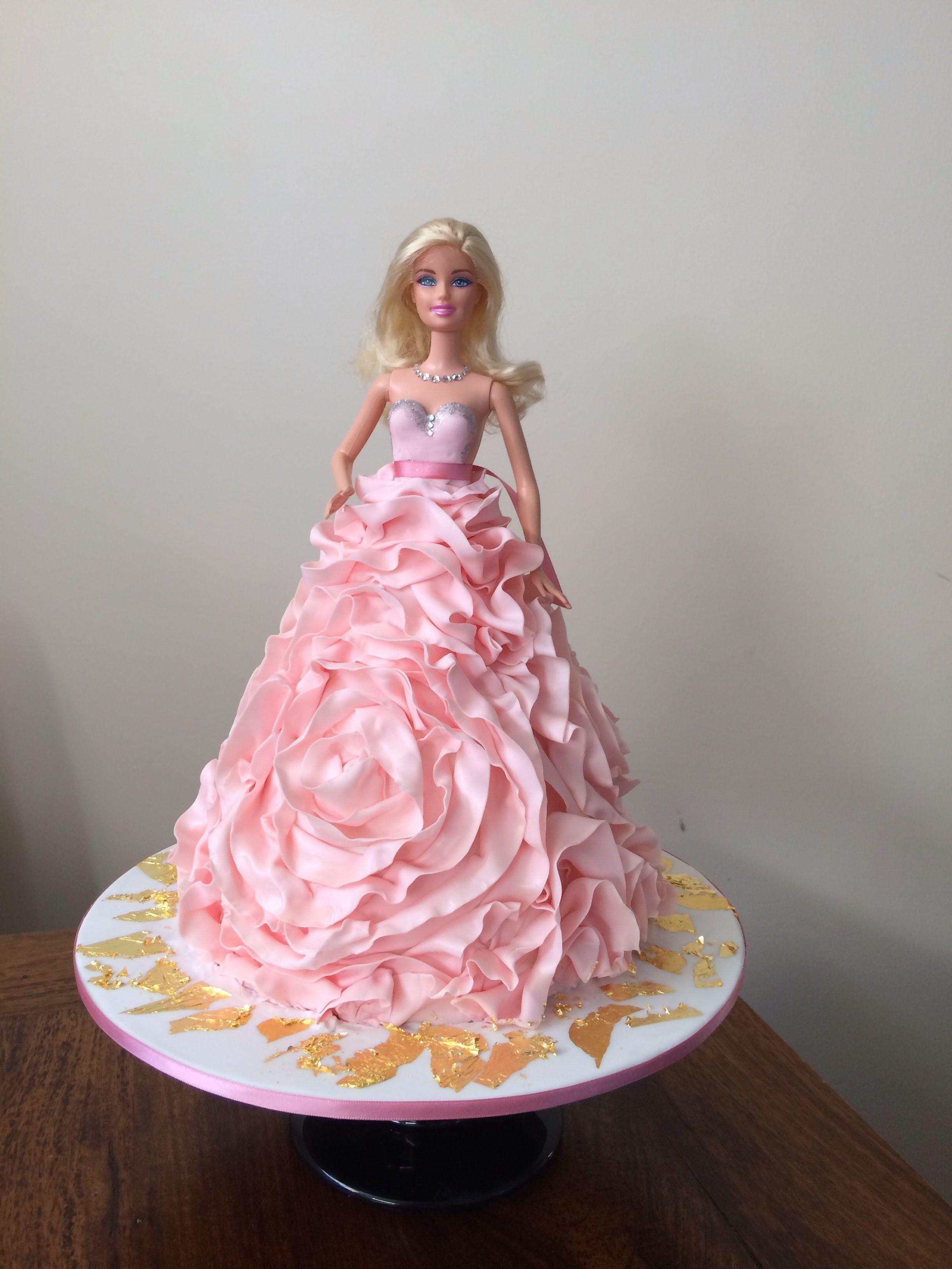 Barbie rose ruffle dress cake | Cakes of all | Pinterest