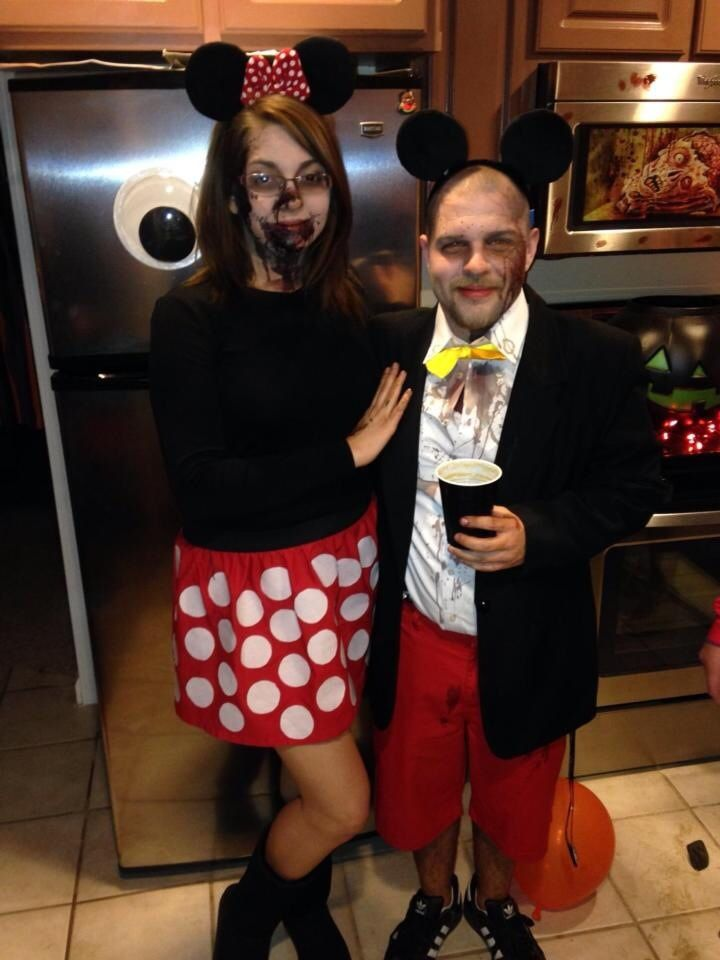 Mickey and Minnie Mouse zombie costumes DIY for Halloween ...