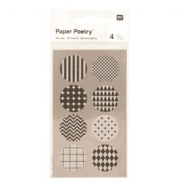 Stickers ronds en washi - noir/blanc