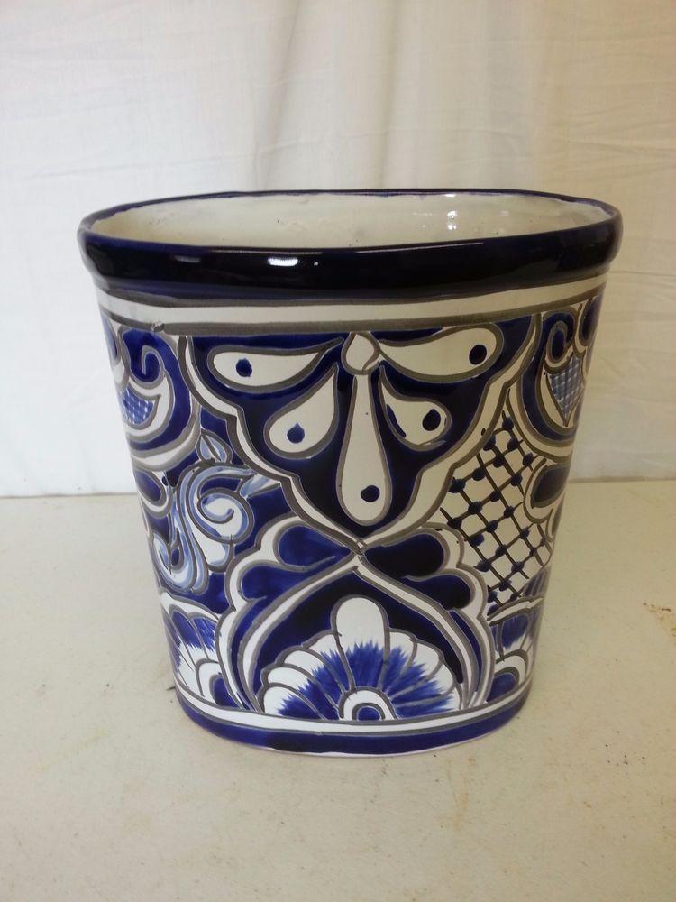 "11"" Talavera TRASH CAN WASTE BASKET Planter Handmade BLUE Ceramic Mexico Pottery"