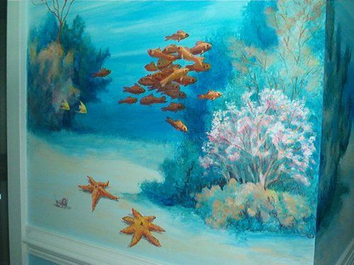 under the sea mural in childs room WetCanvas Walls