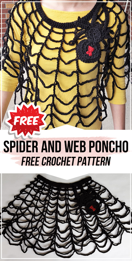 crochet Spider and Web Poncho free pattern
