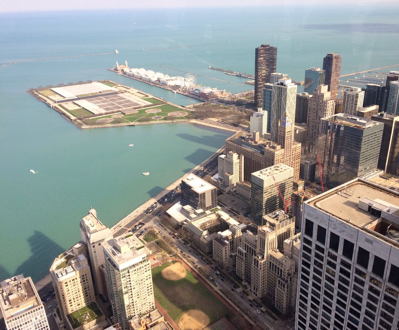 Navy Pier from the sky, Chicago, April 2017