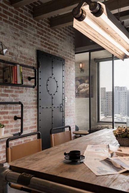 Paredes de ladrillo visto muebles de madera y metal for Muebles industriales metal baratos