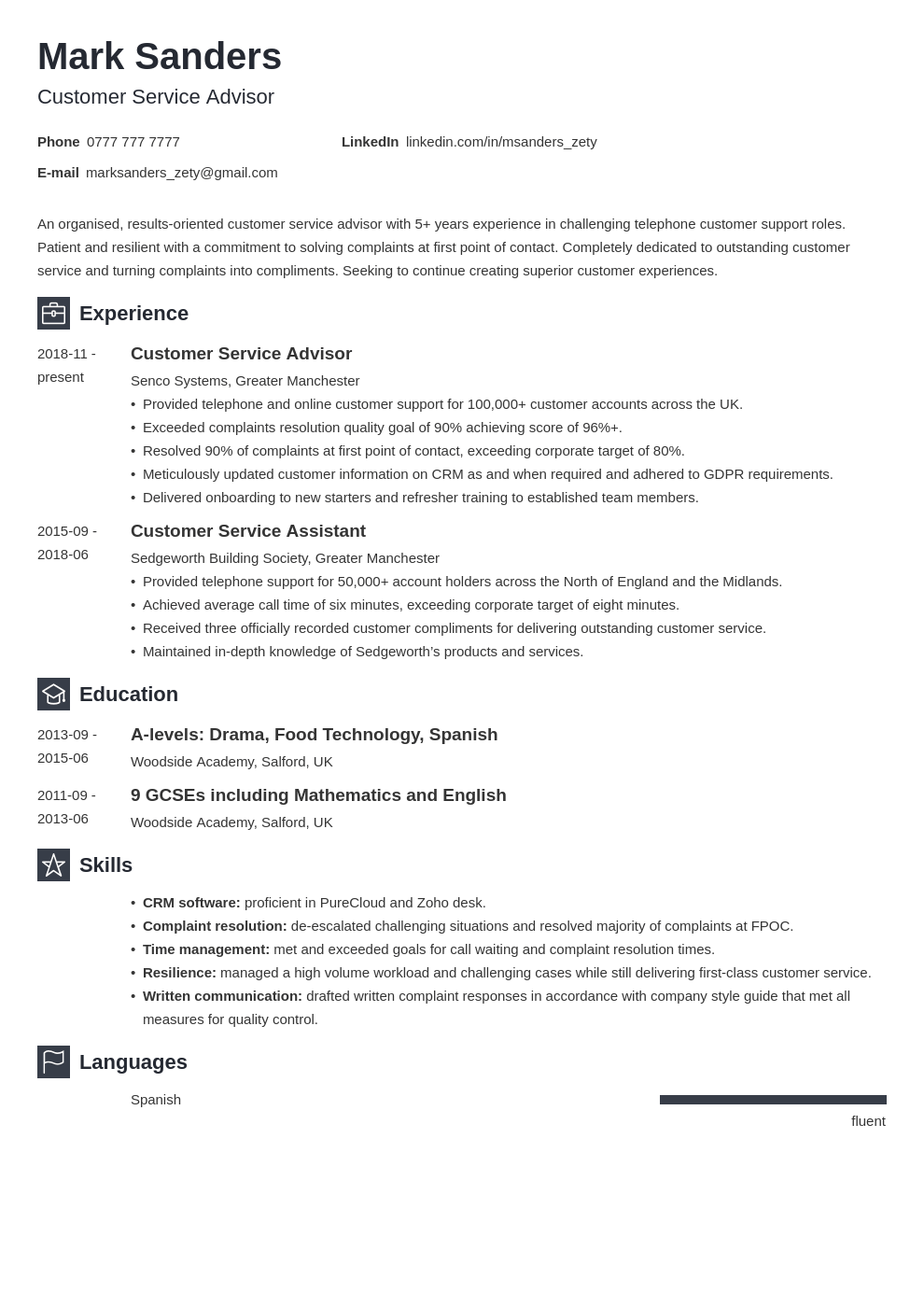 uk customer service cv example template newcast in 2020
