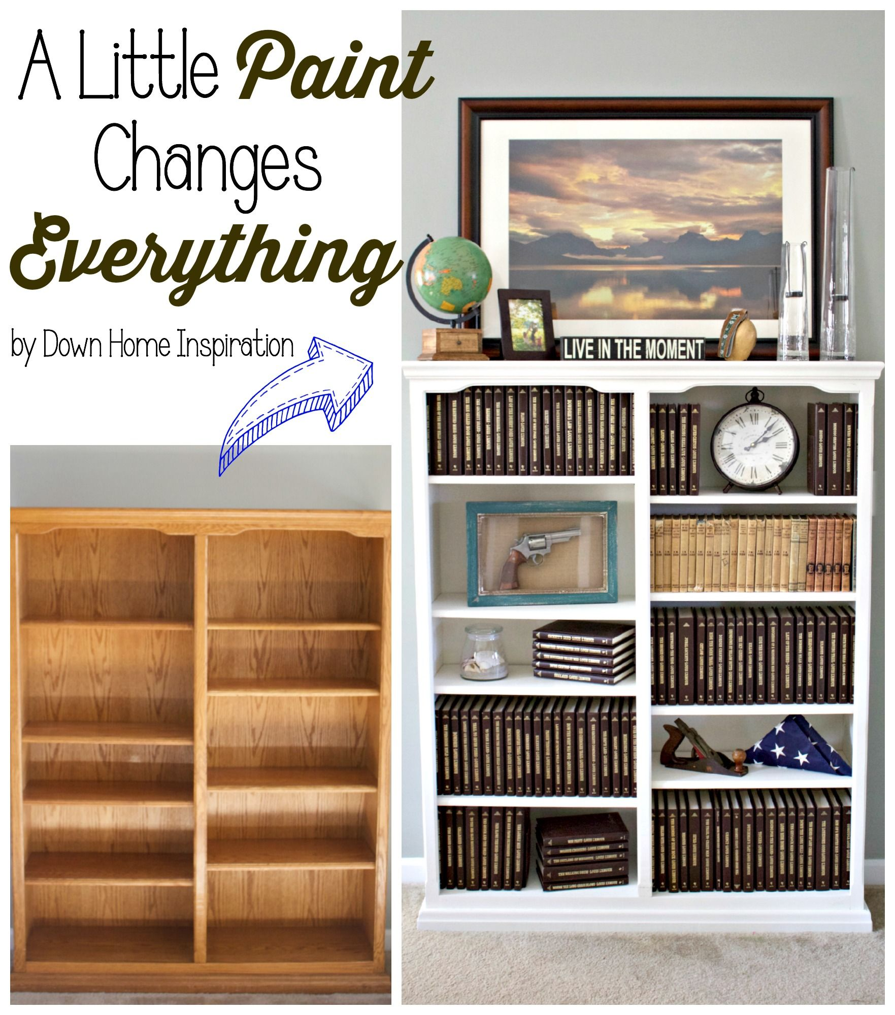 A Little Paint Changes Everything - The Story of my Upcycled, Hand me Down Painted Bookcase - Down Home Inspiration