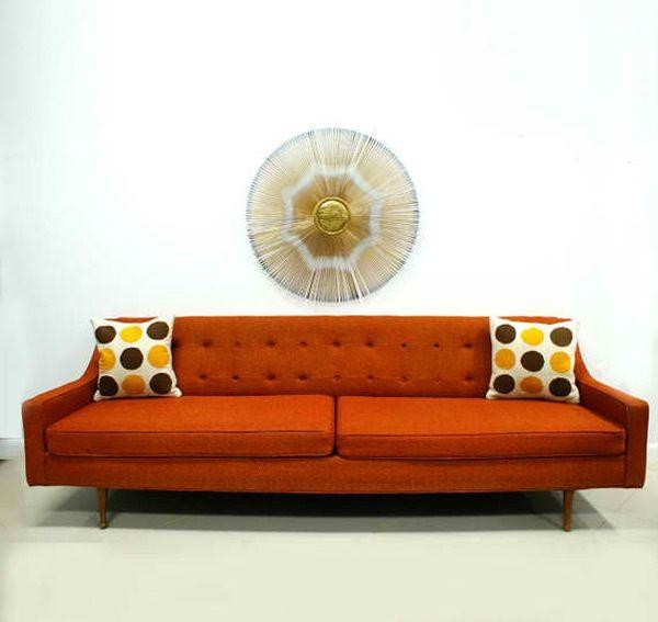 Lovely Orange Sofa As Cheerful Furniture : Marvelous Modern Minimalist Orange Sofa  Splash Color Cushion