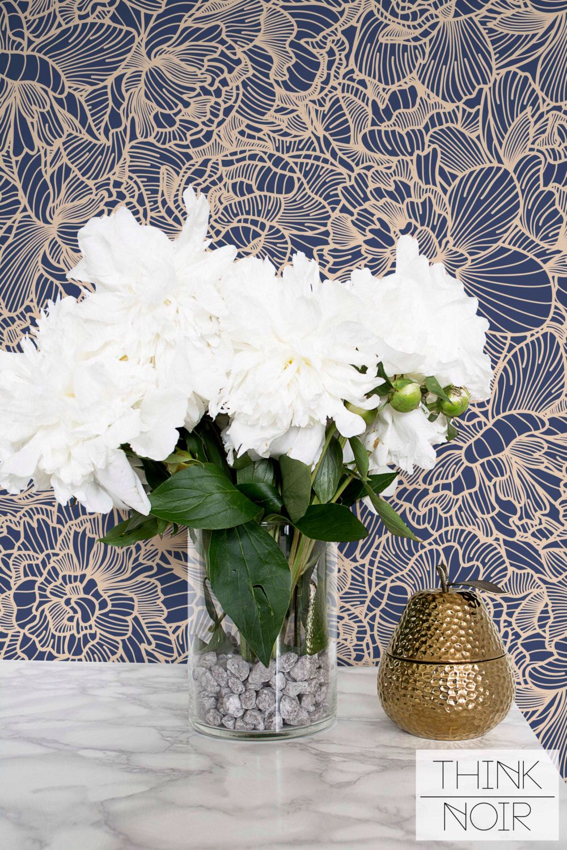 Flower Adhesive Wallpaper / Floral Removable or Regular