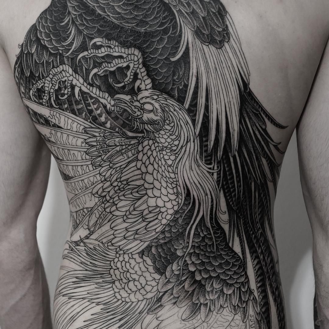 By Alexander Grim Tattoo Bird Back Work тату рисунки и идеи