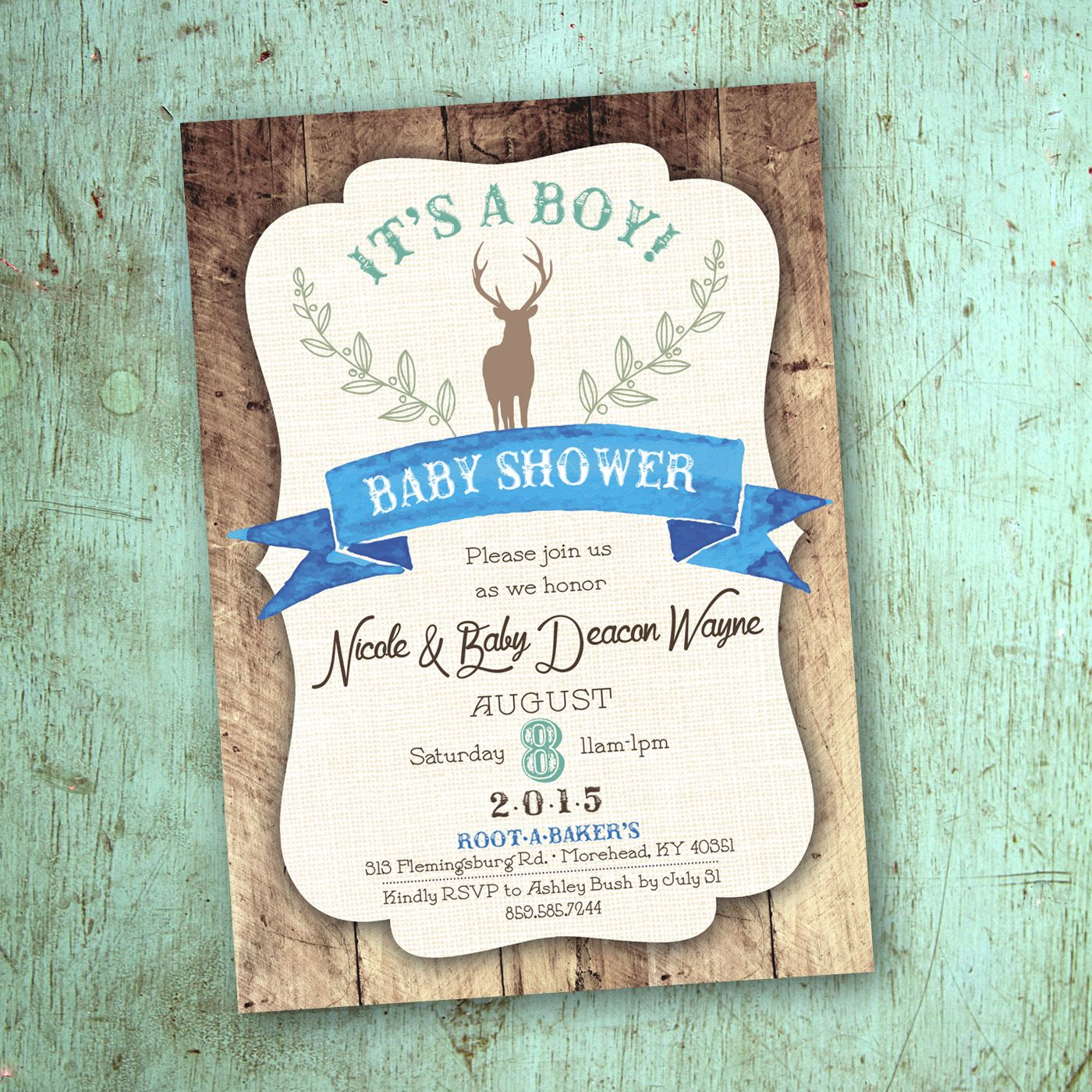 Rustic woodland deer theme baby boy shower invitation design ...