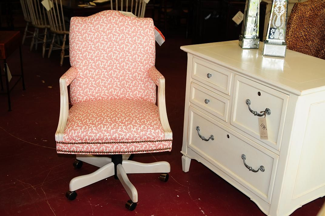 Attractive Coral Print Re Upholstered Desk Chair