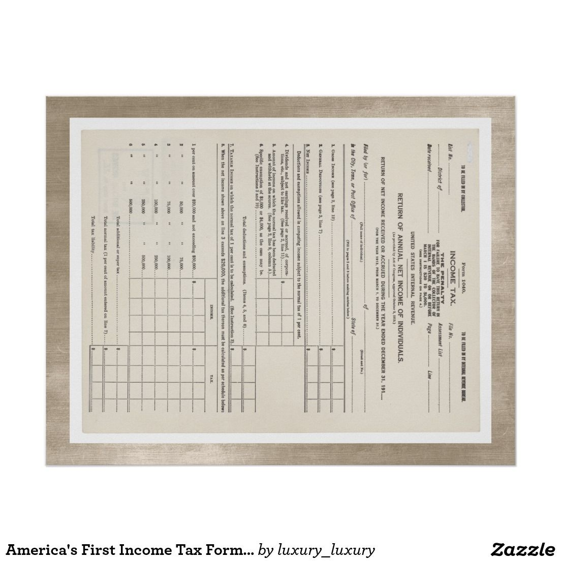 First Income Tax Form  Red Poster