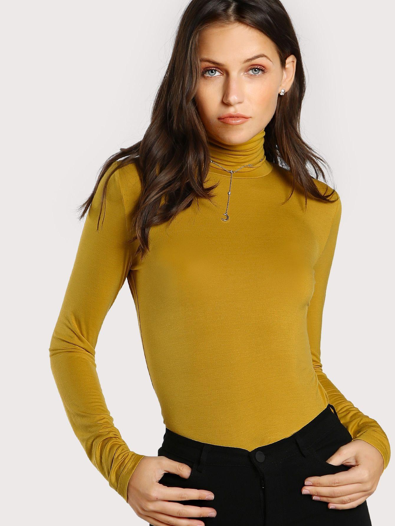 32081cd8e9 Elegant Plain Slim Fit High Neck Long Sleeve Mustard Turtleneck Slim Fit T- shirt