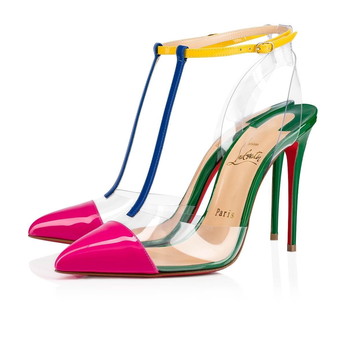The Nosy Pump Displays Its Eclectic Colors With Audacity Set On A 100mm Heel The Model Features Mixed Multi Col Leather Shoes Woman Christian Louboutin Heels