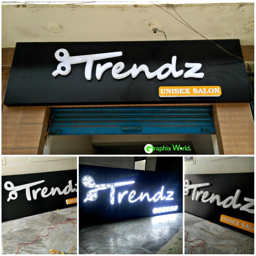 Led Board Design Trendz Unisex Salon Ledwaale Led Signage