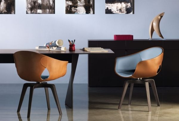 Blau Polsterung-Leder Außenseite-Designer Stuhl-Modern ...