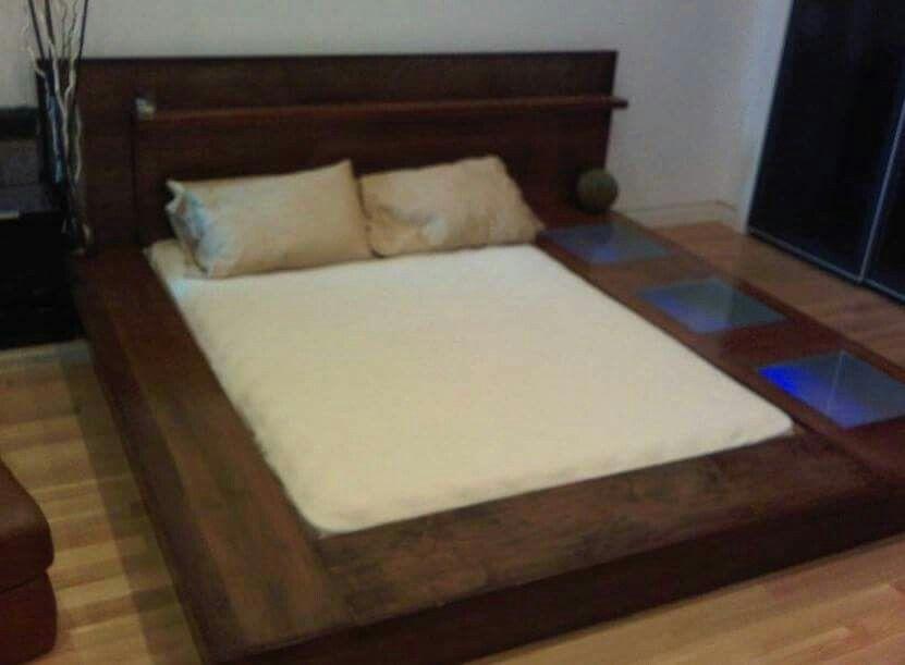 Custom Made Queen Size Bed Frame Gemilina Wood In Dark Narra