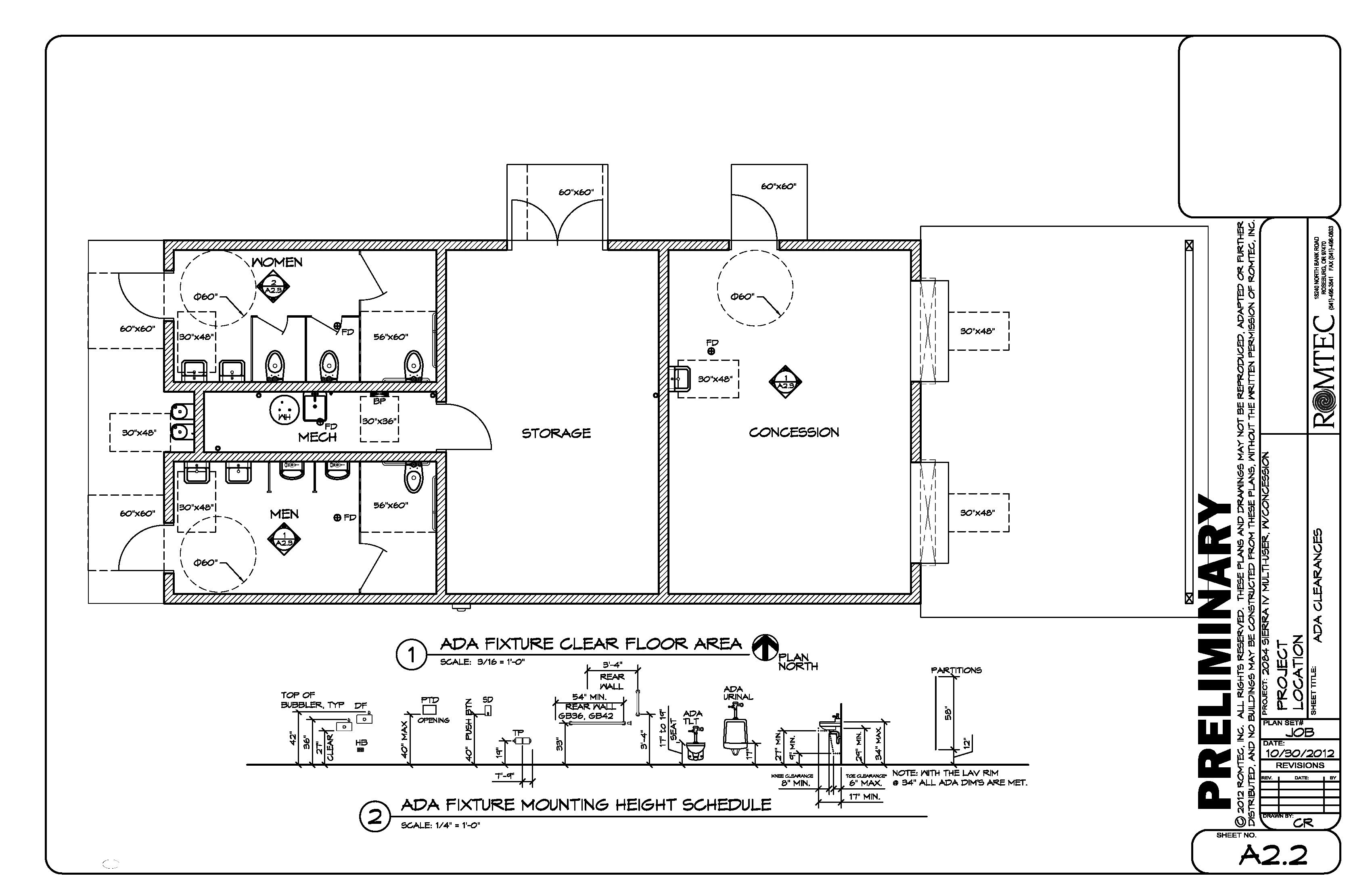 Construction Bathroom Plans a romtec floor plan with ada specifications | apartment design