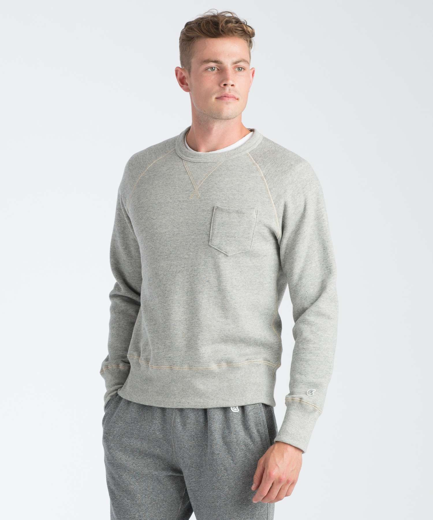 Part Of Our Foundation Collection This Raglan Sleeve Sweatshirt Is Crafted From Softly Structured Fleece Pocket Sweatshirt Long Sleeve Tshirt Men Sweatshirts [ 1800 x 1500 Pixel ]