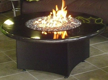 Oriflame Round Black Glass Pit Fire Pit Table Gas Firepit Fire Pit