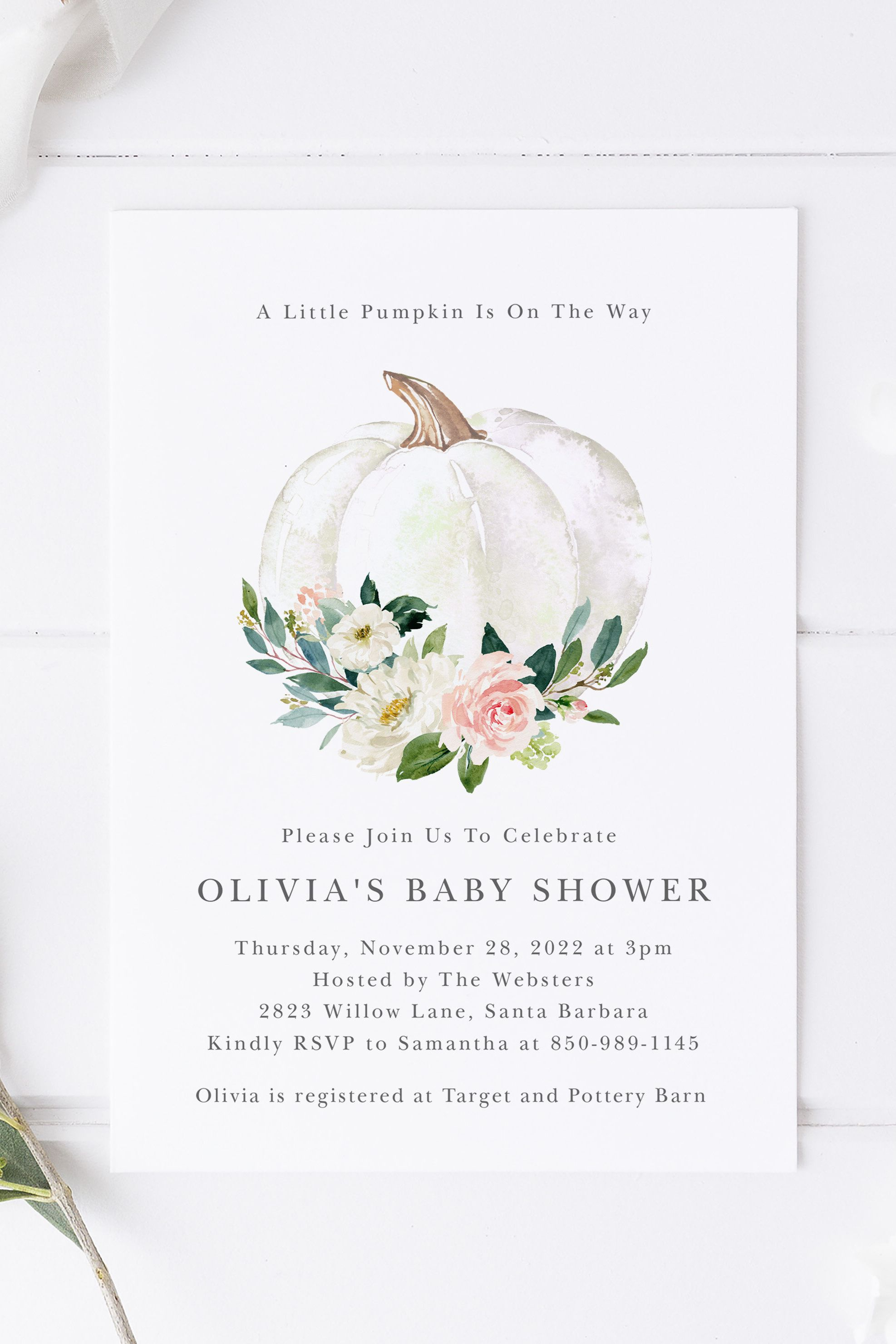 INSTANT DOWNLOAD Fall Themed Printable Pumpkin Baby Shower Welcome Sign Template